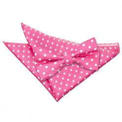 Hot Pink Polka Dot Bow Tie & Pocket Square Set