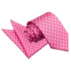 Hot Pink Polka Dot Tie & Pocket Square Set