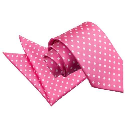 Hot Pink Polka Dot Tie & Pocket Square Set