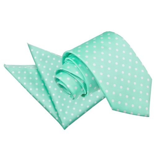 Mint Green Polka Dot Tie & Pocket Square Set