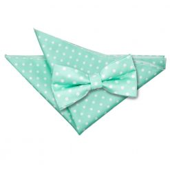 Mint Green Polka Dot Bow Tie & Pocket Square Set
