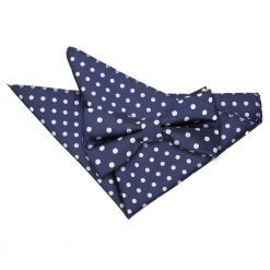 Navy Blue Polka Dot Bow Tie & Pocket Square Set