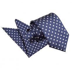 Navy Blue Polka Dot Tie & Pocket Square Set