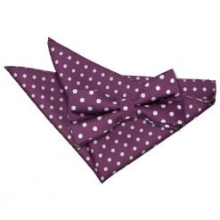 Purple Polka Dot Bow Tie & Pocket Square Set