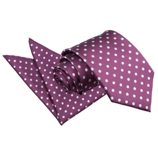 Purple Polka Dot Tie & Pocket Square Set