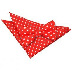 Red Polka Dot Bow Tie & Pocket Square Set