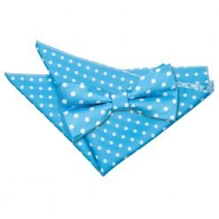 Robin's Egg Blue Polka Dot Bow Tie & Pocket Square Set