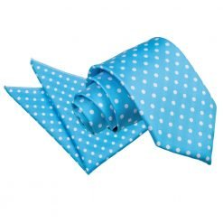 Robin's Egg Blue Polka Dot Tie & Pocket Square Set