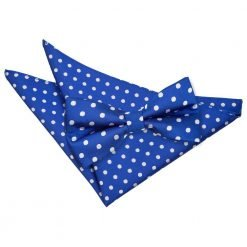 Royal Blue Polka Dot Bow Tie & Pocket Square Set