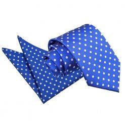 Royal Blue Polka Dot Tie & Pocket Square Set