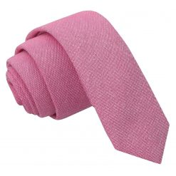 Amaranth Pink Chambray Cotton Skinny Tie