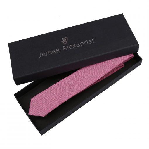 Amaranth Pink Chambray Cotton Skinny Tie