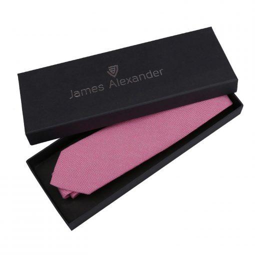 Amaranth Pink Chambray Cotton Slim Tie