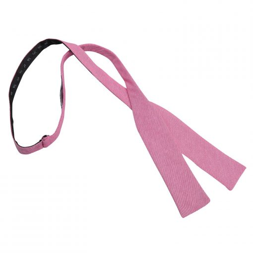 Amaranth Pink Chambray Cotton Batwing Self Tie Bow Tie