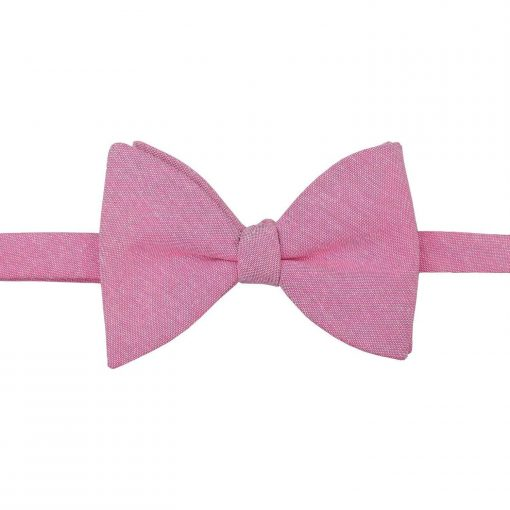 Amaranth Pink Chambray Cotton Butterfly Self Tie Bow Tie