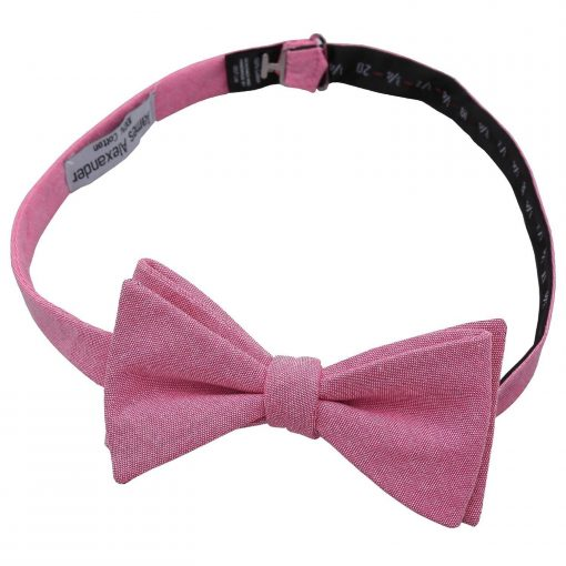 Amaranth Pink Chambray Cotton Thistle Self Tie Bow Tie