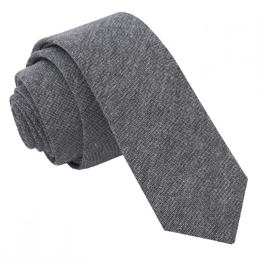Charcoal Chambray Cotton Skinny Tie
