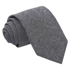 Charcoal Chambray Cotton Slim Tie