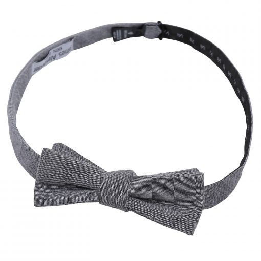 Charcoal Chambray Cotton Batwing Self Tie Bow Tie