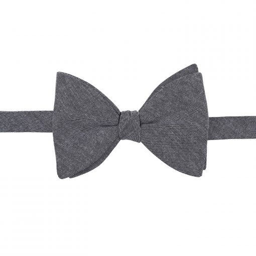 Charcoal Chambray Cotton Butterfly Self Tie Bow Tie