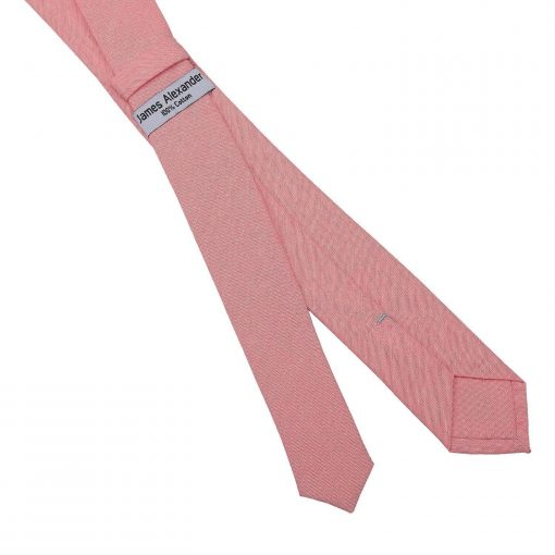 Coral Chambray Cotton Skinny Tie