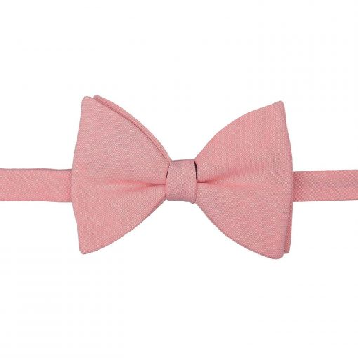 Coral Chambray Cotton Butterfly Self Tie Bow Tie