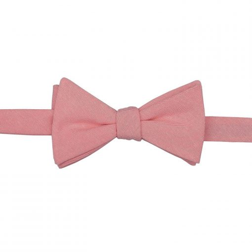 Coral Chambray Cotton Thistle Self Tie Bow Tie