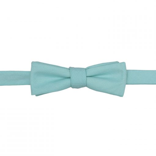 Light Turquoise Chambray Cotton Batwing Self Tie Bow Tie