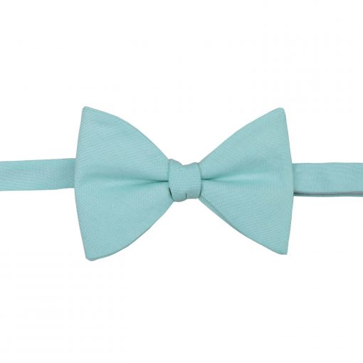 Light Turquoise Chambray Cotton Butterfly Self Tie Bow Tie