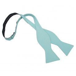 Light Turquoise Chambray Cotton Thistle Self Tie Bow Tie
