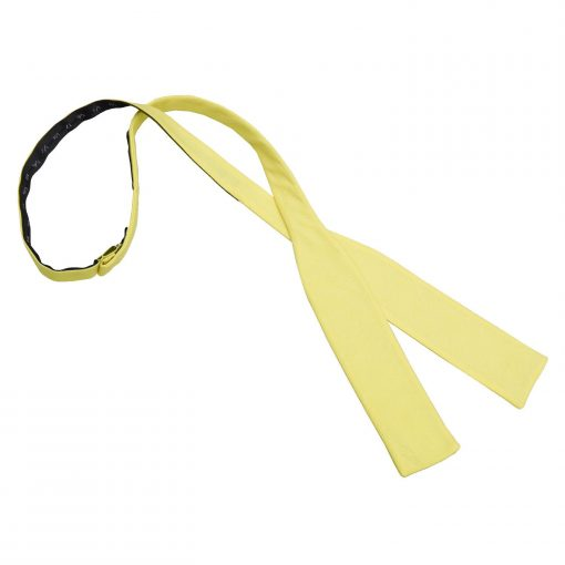 Light Yellow Chambray Cotton Batwing Self Tie Bow Tie