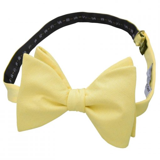 Light Yellow Chambray Cotton Butterfly Self Tie Bow Tie