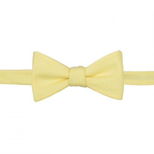 Light Yellow Chambray Cotton Thistle Self Tie Bow Tie