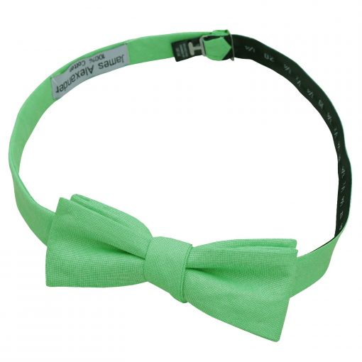 Mint Green Chambray Cotton Batwing Self Tie Bow Tie