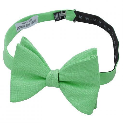 Mint Green Chambray Cotton Butterfly Self Tie Bow Tie