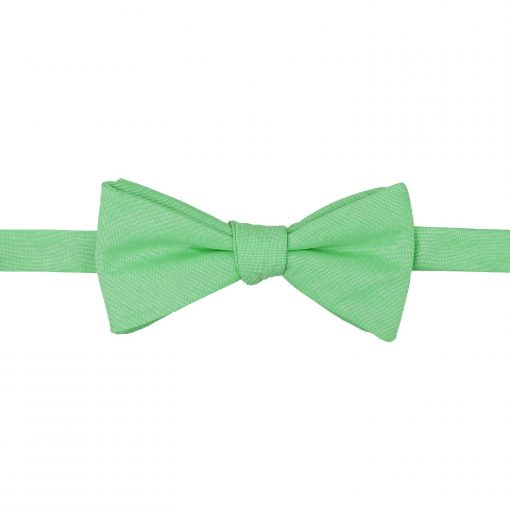 Mint Green Chambray Cotton Thistle Self Tie Bow Tie
