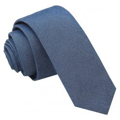 Navy Blue Chambray Cotton Skinny Tie