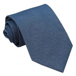 Navy Blue Chambray Cotton Classic Tie