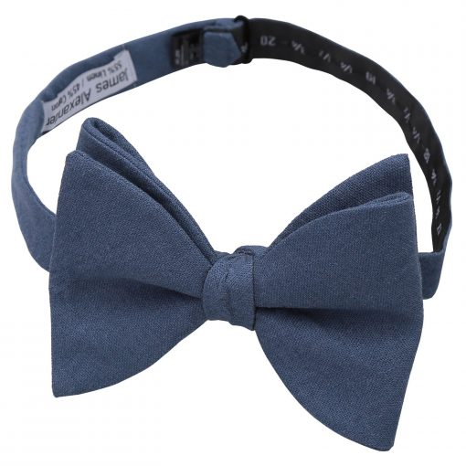 Navy Blue Chambray Cotton Butterfly Self Tie Bow Tie
