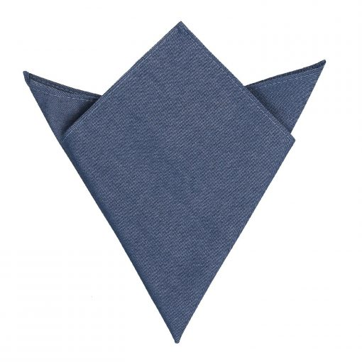 Navy Blue Chambray Cotton Handkerchief / Pocket Square