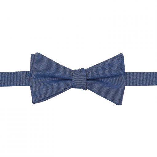 Navy Blue Chambray Cotton Thistle Self Tie Bow Tie