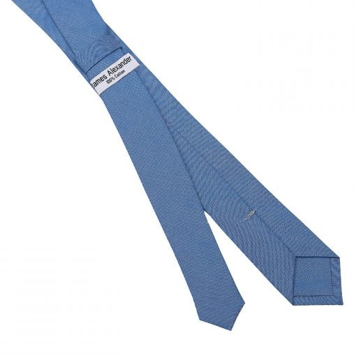 Parisian Blue Chambray Cotton Skinny Tie
