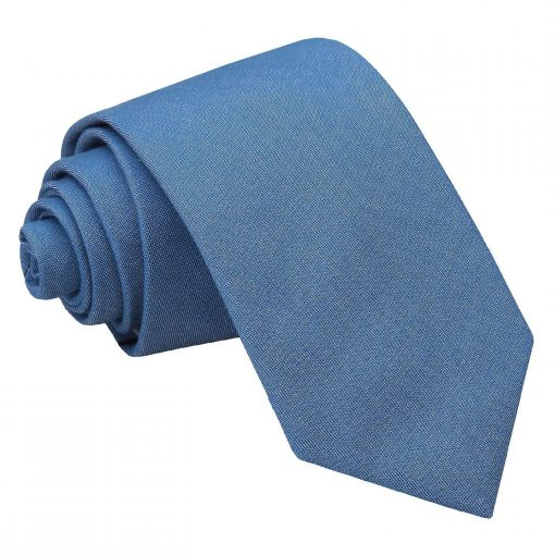 Parisian Blue Chambray Cotton Slim Tie