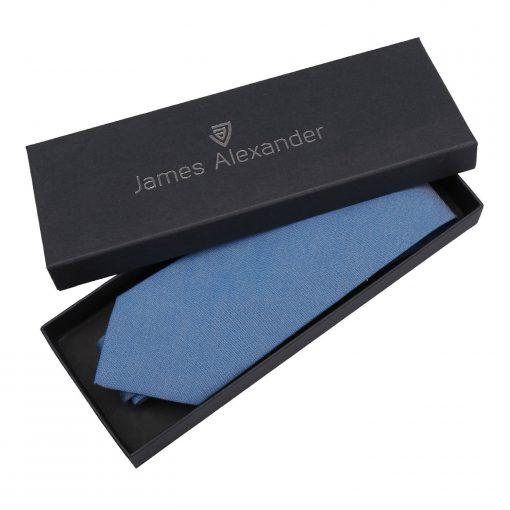 Parisian Blue Chambray Cotton Classic Tie