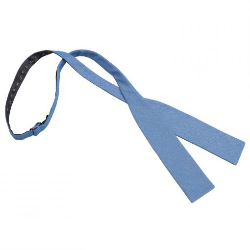 Parisian Blue Chambray Cotton Batwing Self Tie Bow Tie