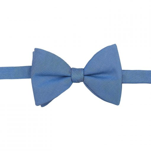 Parisian Blue Chambray Cotton Butterfly Self Tie Bow Tie