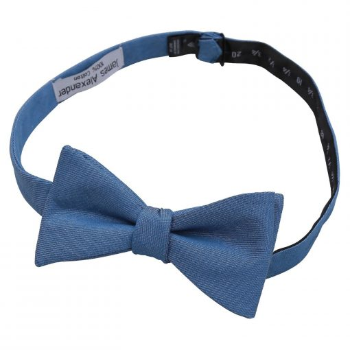 Parisian Blue Chambray Cotton Thistle Self Tie Bow Tie