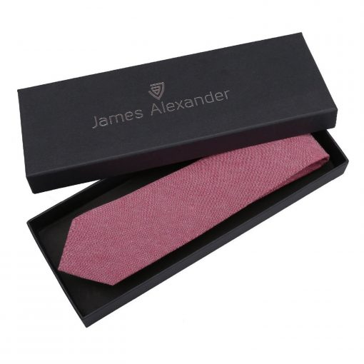 Red Chambray Cotton Slim Tie