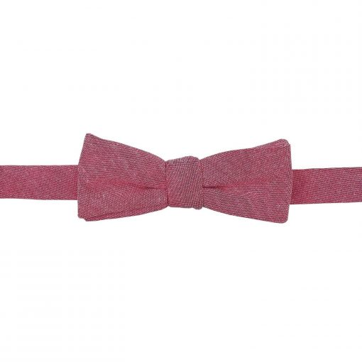 Red Chambray Cotton Batwing Self Tie Bow Tie