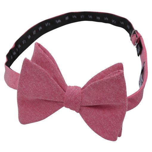 Red Chambray Cotton Butterfly Self Tie Bow Tie